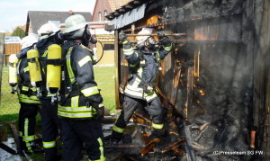 Hagneburg, Feuer im Holzschuppen
