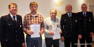 v.l. Ortsbrandmeister Wilhelm Sölter, Manfred Spittler, Heinz Dollweber, Heinz Fahlbusch, Uwe Gellrich ,stellv. Ortsbrandmeister